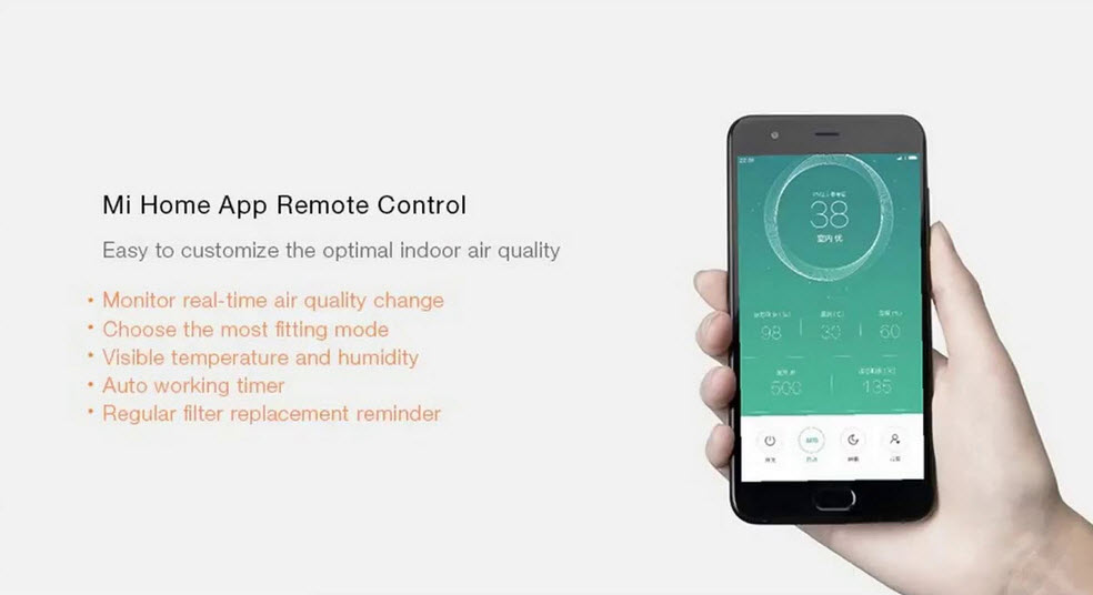 mi home smartphone app for air purifier