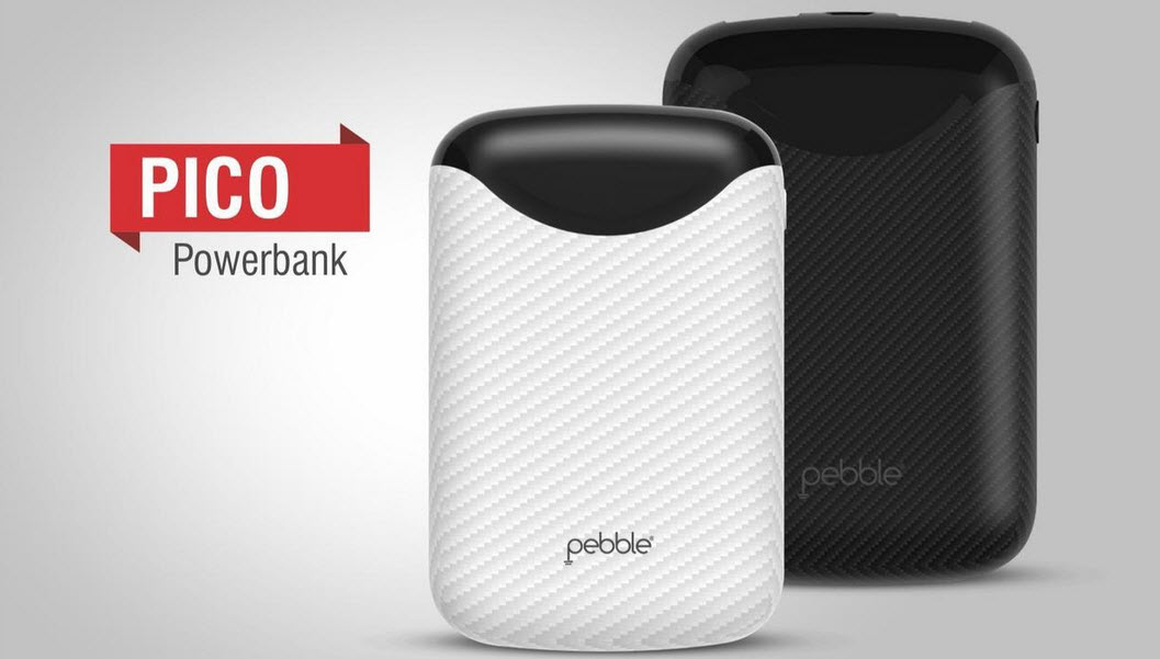 pebble pico powerbank in white and black